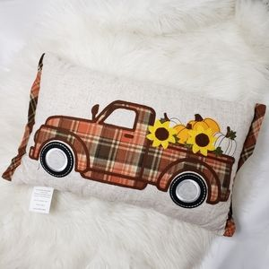 "Harvest truck sunflower pumpkins Pillow 18""x11.5"""